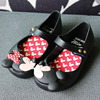BBK High Quality 17 Mini Melissa Shoes For Girls Cartoon Mickey Minnie Black Red Princess Shoes