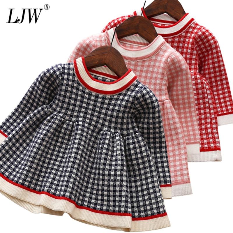 Baby Girls Dress Warm Lattice Knit Long-Sleeve Princess Dress Kids Clothes Children Dresses For Toddler Baby Christmas Costume