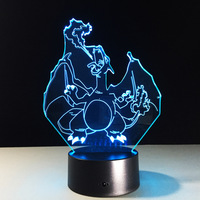 7 Changement de Couleur Tête de Tigre 3D led Lampe Dragon USB Charge 3D nuit lightIllusion LED Nuit Lumière Colorfulbedroom lampe