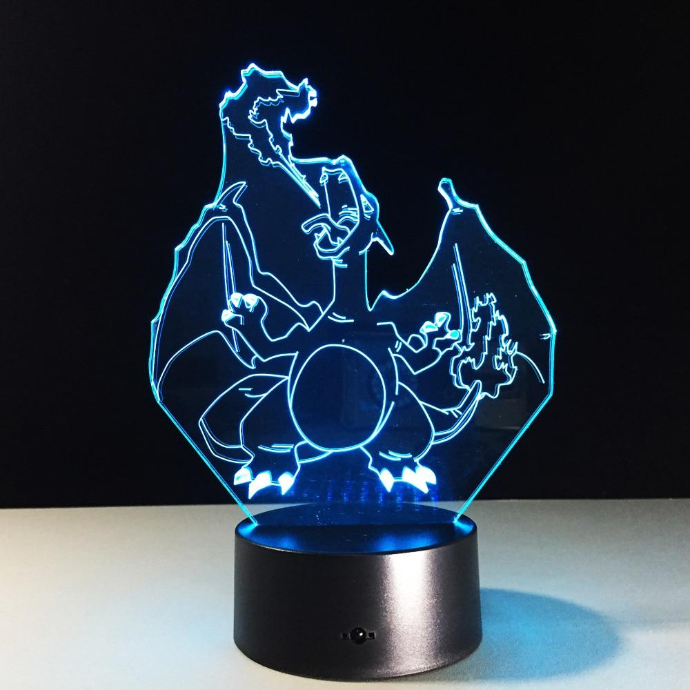7 Color Changing Tiger Head 3D led Lamp Dragon USB Charge 3D night lightIllusion LED Night Light Colorfulbedroom lamp acrylic 7 color changing usb charge 3d