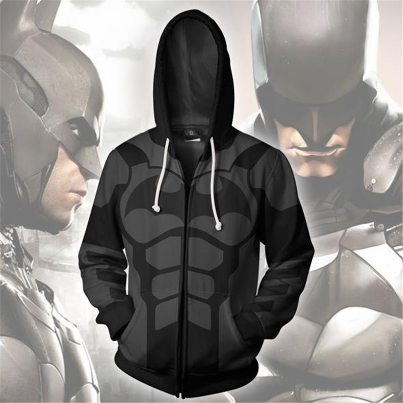 2019 New Men Women Hooded Batman Zip Up Hoodie 3D Printed Hoodies Zipper Hoody Hooded Hip Hop Tops Zip Hoodie