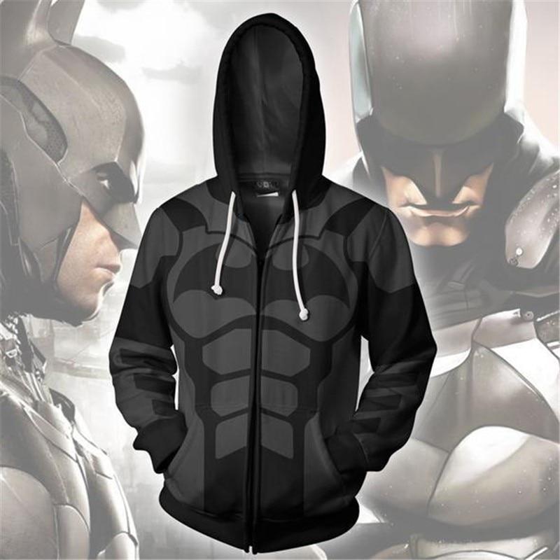 2019 New Men Women Hooded Batman Zip Up Hoodie 3D Printed Hoodies Zipper Hoody Hooded Hip Hop Tops Zip Hoodie