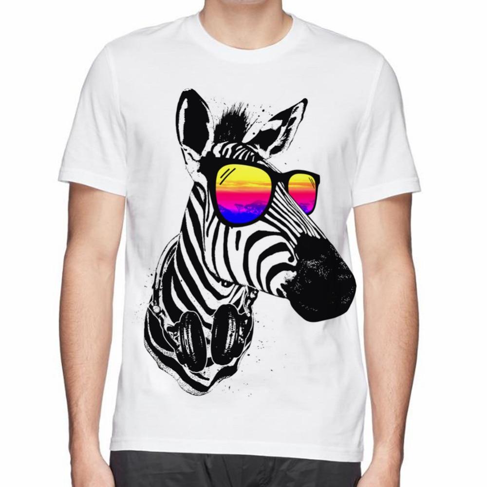 Zebra shirt design - Cool Zebra Dj Cat Owl Cute Dog Man Cotton T Shirt Hot Beautiful Design Printed Men