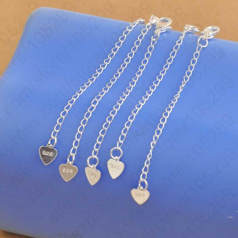 Hurtownie biżuteria ustalenia 925 Sterling Silver rozszerzenie łańcuchy ogon serca Tag Lobster klamrami na naszyjnik bransoletki