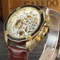 FORSINING Men Luxury Brand Watch Mechanical Watch Automatic Skeleton Wristwatch Gold Military Sports Clock Male Business