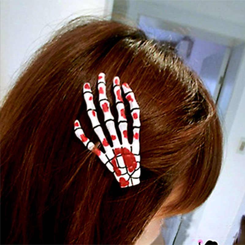 Nuevos huesos de mano horquilla Multicolor plástico Terror humano esqueleto Clip fluorescente Cosplay Horquillas para el cabello accesorios para el cabello
