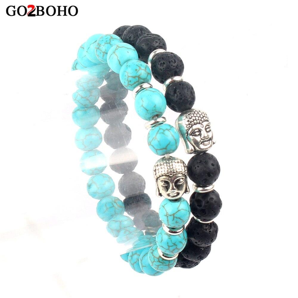 Go2boho Dropshipping Supplie Bracelet Fashion men Jewerly Bracelets & Bangles Women Buddha Head Chakra Natural Lava Stones Beads