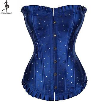 Rhinestone Corset Overbust Corsets Lace Up Korset Satin Plus Size 6XL Bustier Boned Outfit Gorset Gothic Waist Slimming Corselet corzzet corset sexy gothic gray leather steel boned zipper overbust corsets and bustiers waist slimming steampunk corselet