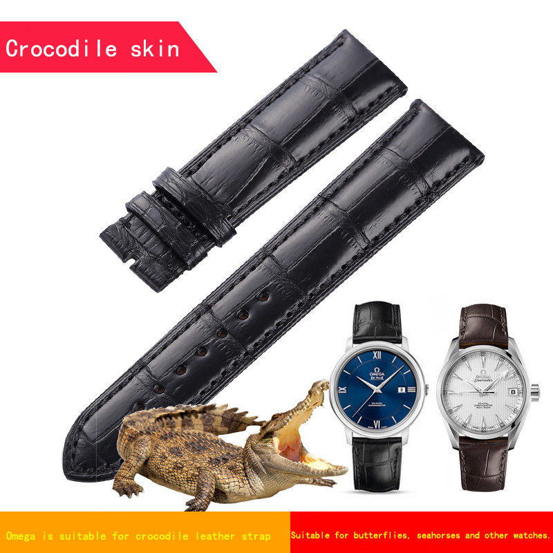 Apply omega super - overlord seahorse butterfly flying series of American crocodile leather strap needle deduction цена