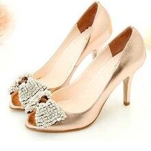 Новые женщины удобная золото сверкающие блестящие горный хрусталь для новобрачных ну вечеринку выпускного вечера свадебные туфли леди пальца ноги щели формальные платья обувь