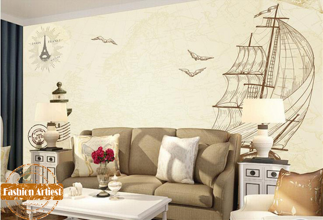 Custom vintage simple sea wallpaper mural sailing ship boat hand painting poster light house tv sofa bar bedroom living room