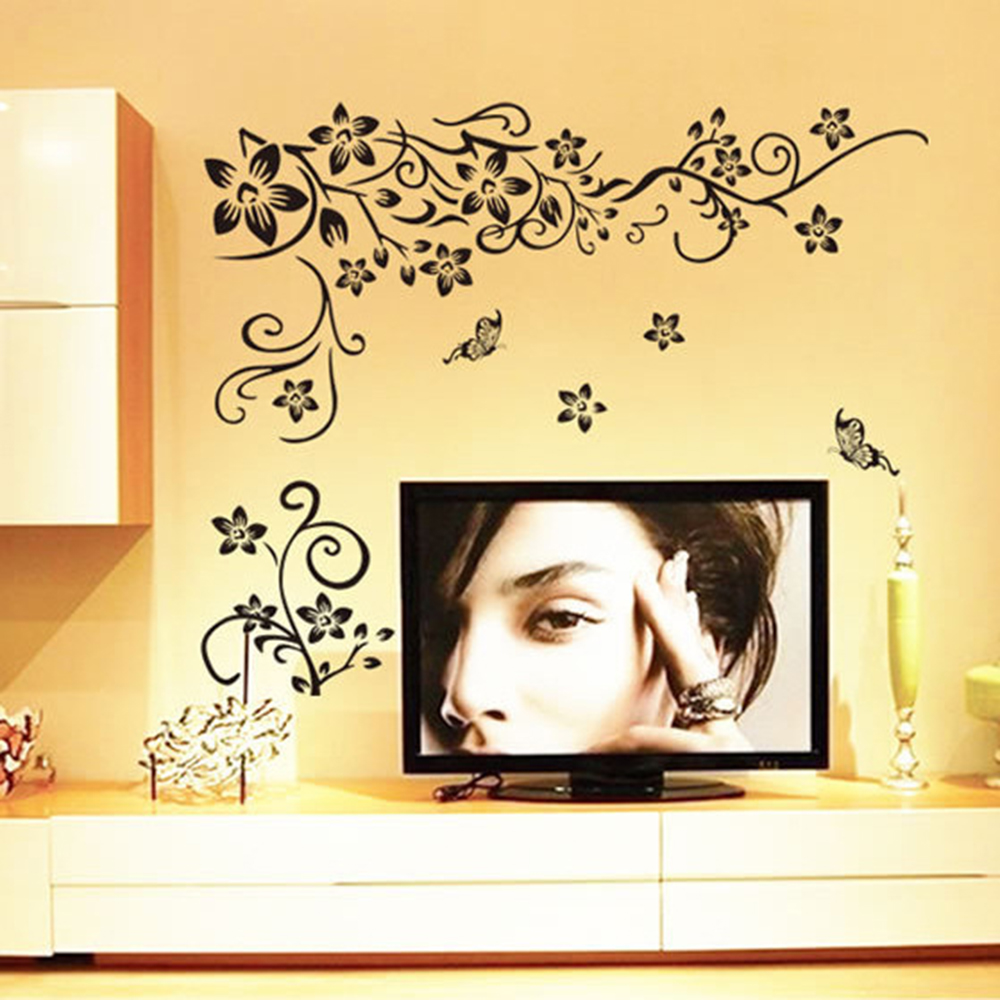 Black Flower vine butterfly vinyl wall stickers home decor rooms ...