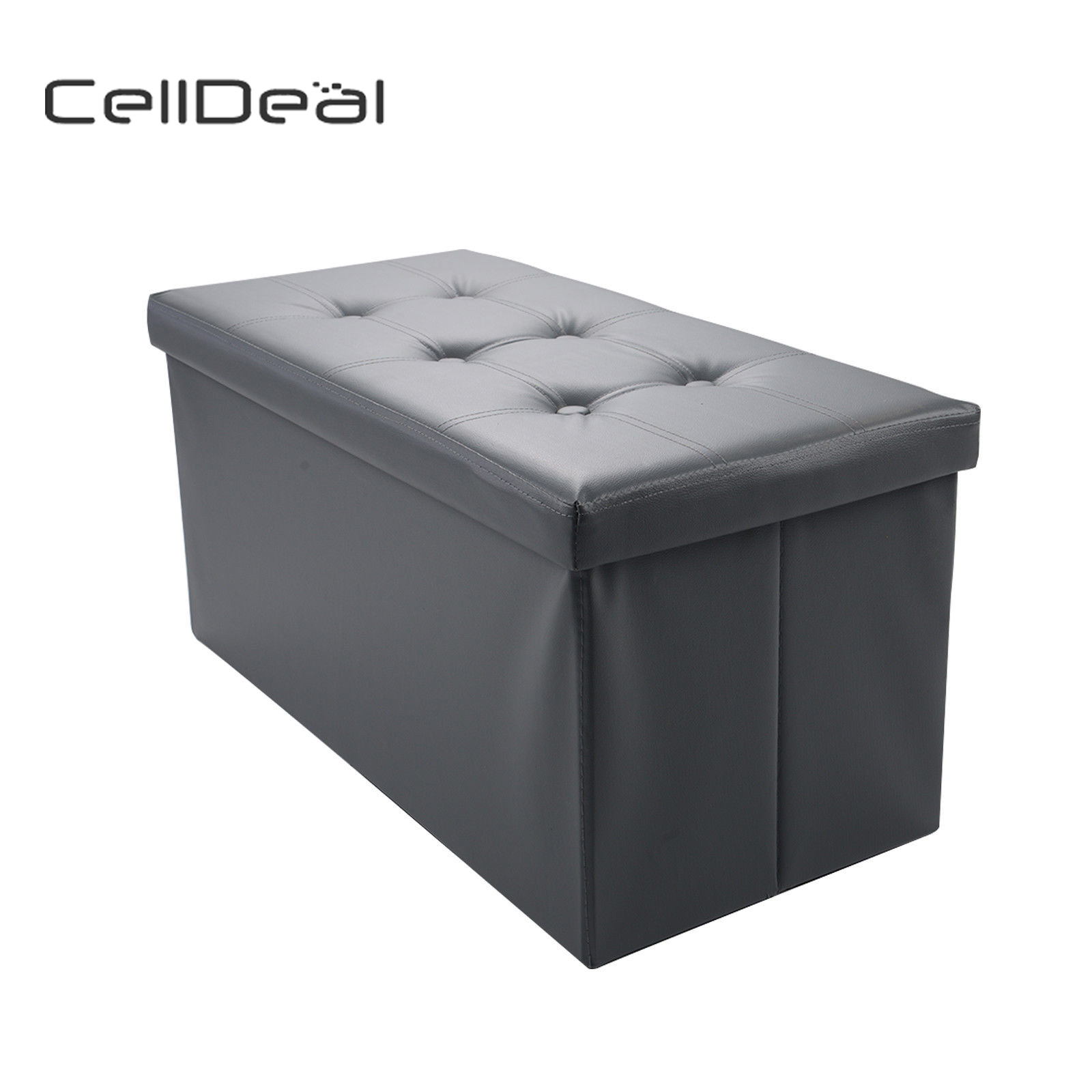 Folding PU Leather Ottoman Pew Pouffe Storage Case Lounge Pew Footstools New Stool Bench