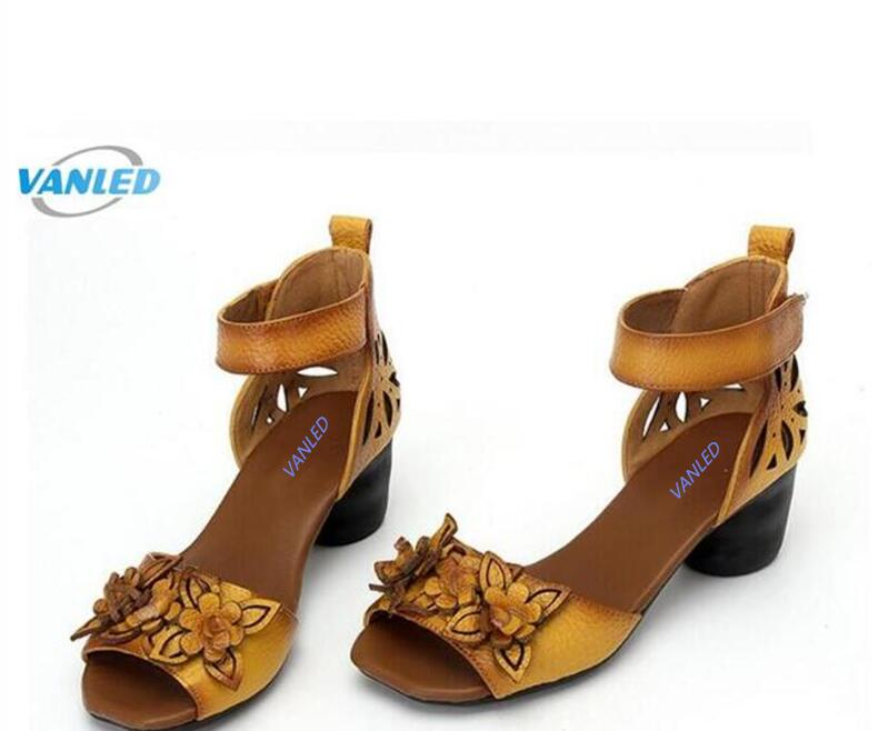 2017 new fish head flowers retro genuine leather shoes for Fish head shoes