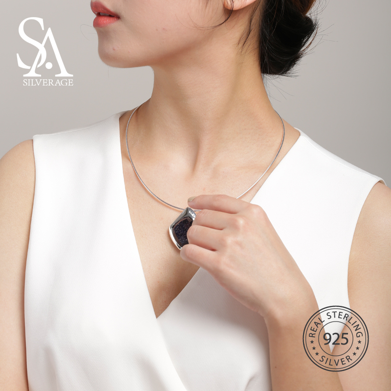 SA SILVERAGE 925 Sterling Argent collier ras du cou Noir Aventurine Tour de Cou Colliers bijoux fins Pour Femmes 12.58g/45mm * 30mm - 2