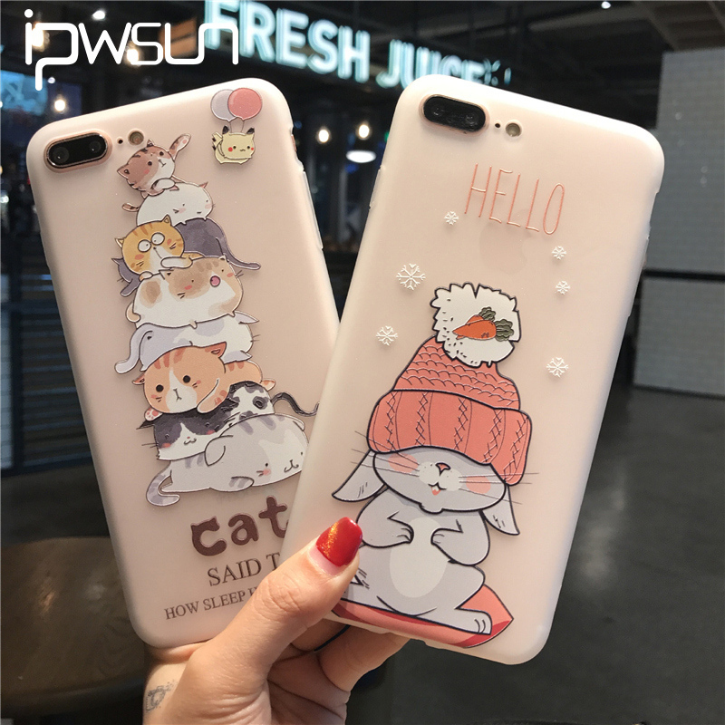 iPWSOO For iPhone 6 6s 7 8 Plus Phone Case Fashion Relief Cute Cartoon Cat Soft Silicone TPU Phone Shell For iPhone 8 Cover Bags