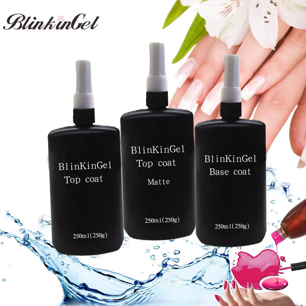BlinkinGel 250ml Clear No Wipe Nailpolish Matte Gel Top Coat Nail Polish Gel Top and Base Coat for UV LED Lamp Refill Package