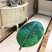 LIU Creative living room carpet simulation green tree leaves non slip floor rug bedroom long hallway bedroom kitchen floor mat