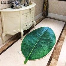 LIU Creative living room carpet simulation green tree leaves non slip floor rug bedroom long hallway bedroom kitchen floor mat
