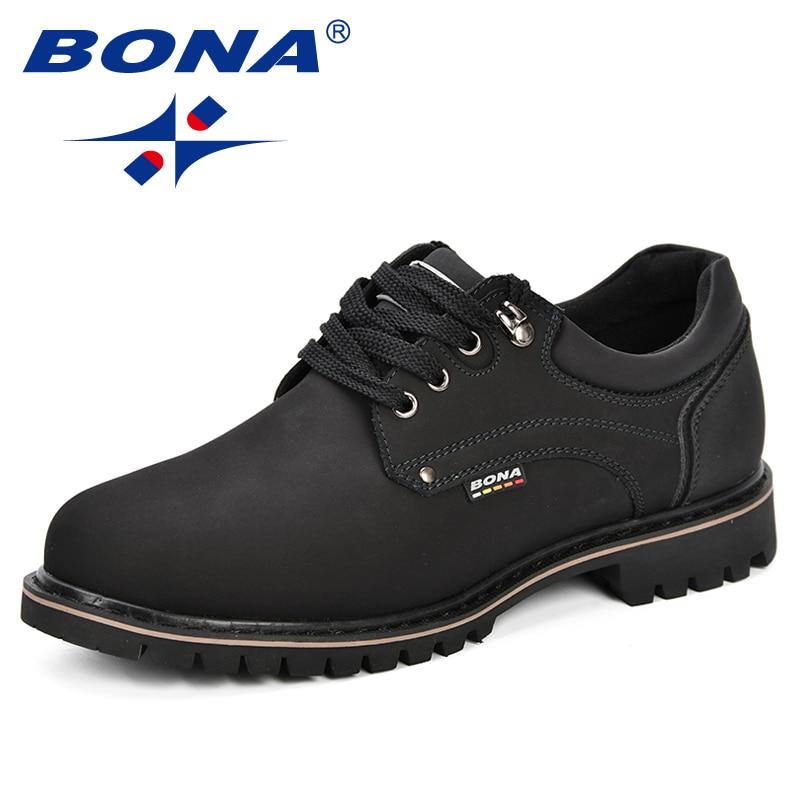 BONA 2018 Fashion Men Casual Shoes New Autumnmen Flats Cow Split Male Oxfords Men Leather Shoes