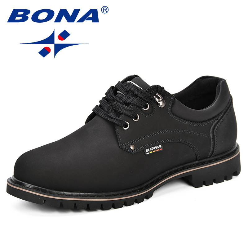 BONA 2018 Fashion Men Casual Shoes New  Autumnmen Flats Cow Split Male Oxfords Men Leather Shoes Zapatillas Hombre Free Shipping