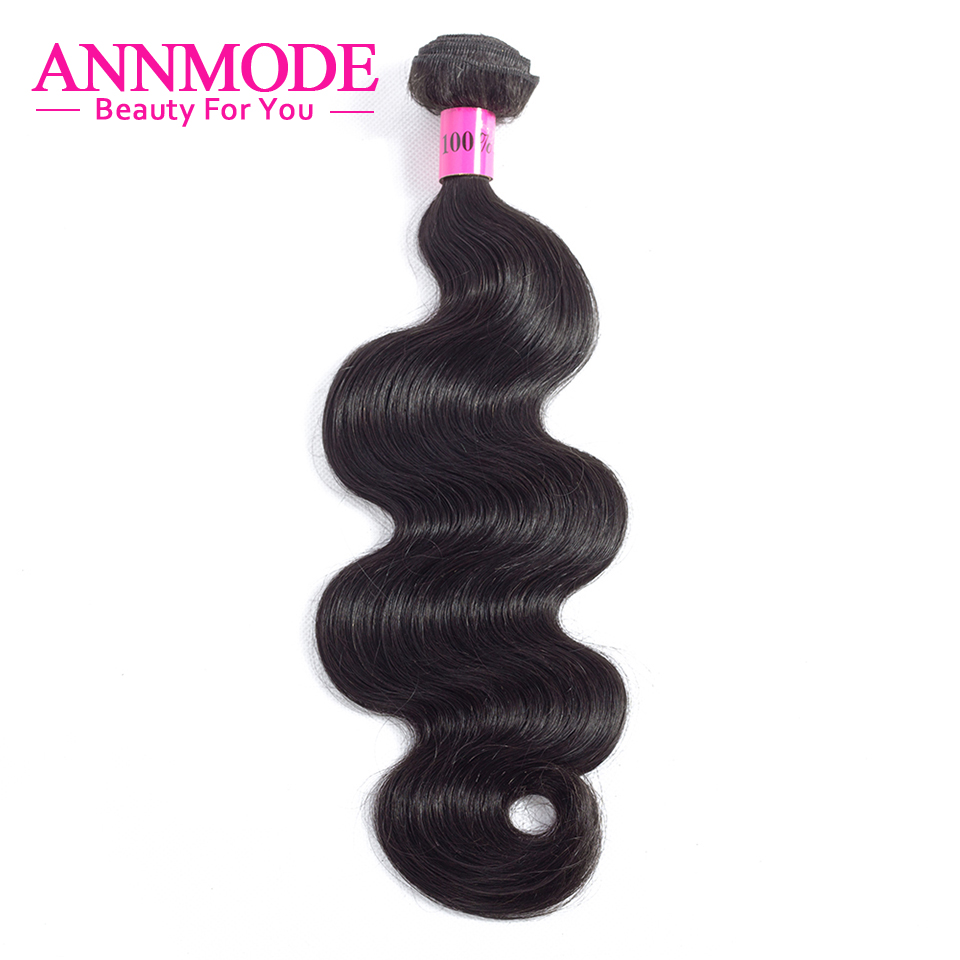 Annmode Hair 1/3/4 Bundles Peruvian Body Wave Hair Natural Color Non - Menneskehår (sort) - Foto 2