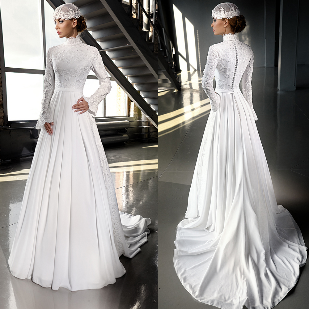 8edade019f879c Luxury Ivory Chiffon Hijab Muslim Wedding Dress 2016 Beaded Lace High Neck Wedding  Dresses Muslim Long Sleeve Bridal Dress WM33-in Wedding Dresses from ...