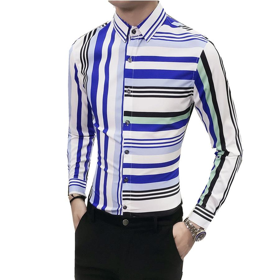 Long Sleeve Korean Striped Shirt Men Vertical Color Block Sexy Mens