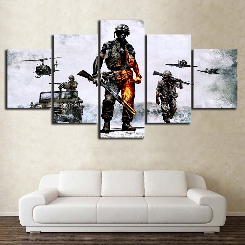 5 Piece Fantasy Shooting Game Poster Battlefield HD Wall Picture Canvas Art for Living Room Wall Decor 2