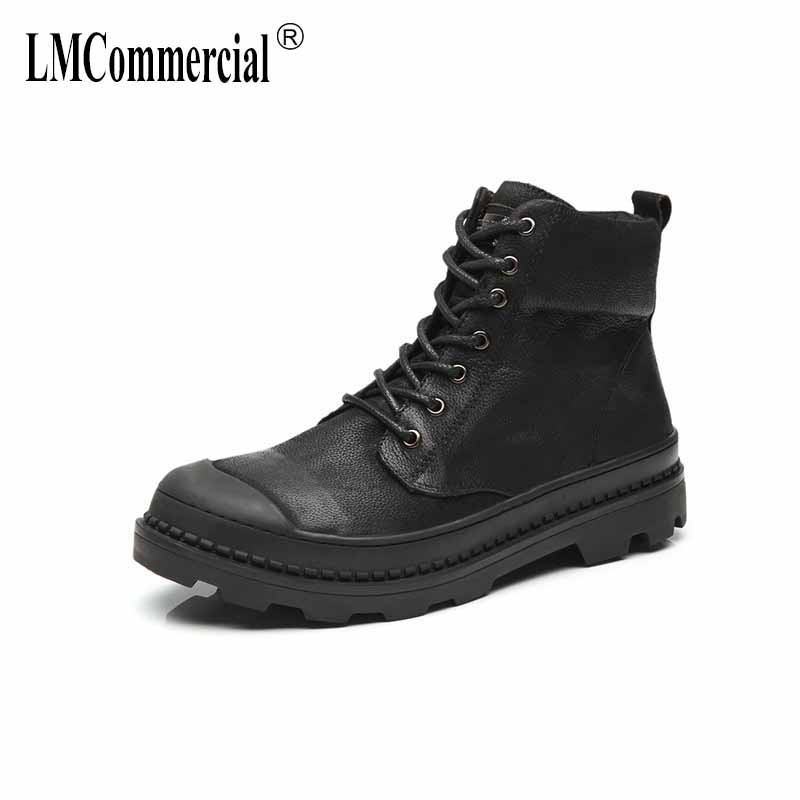 Genuine leather men's casual shoes new autumn winter Martin boots men British retro all-match cowhide breathable Chelsea boots