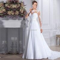 Vestidos De Noiva Cheap Long Sleeves Wedding Gowns Chiffon and Satin Bride Dress Lace A line Robe De Mariage Wedding Dresses