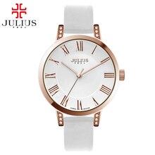 Лучшие продажи женская мода повседневная Miyota кварцевые наручные часы Дамы аналоговый круглый античная роскошные хрустальные часы марка Julius 740