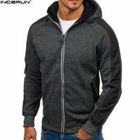 INCERUN Newest Fitness Men Hoodies Sweatshirt Long Sleeve With Zipper Casual Men's Slim Fit Hooded Jacket Coat Bodybuilding 2018