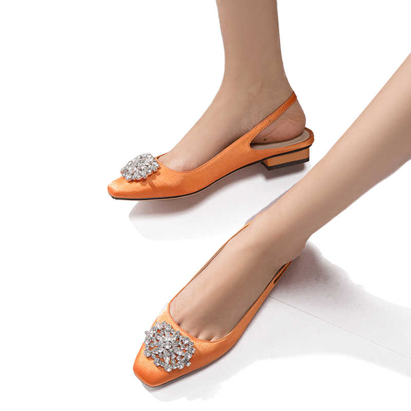 WETKISS Ünlü Marka Kadın Pompaları Saten Yaz Toka Sırt Askısı Ayakkabı Kadın Kare Topuk Kristal Ipek Kare Ayak Ayakkabı Yaz