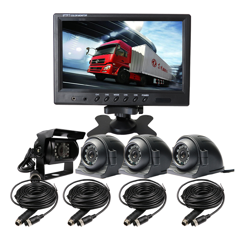 Free Shipping 12-24VDC 4Pin 4CH 9 inch Color Quad Split Car Monitor + 4pcs Rear Front Side View IR CCTV Car Camera for Truck Van free shipping 12v 24vdc 4pin 7 lcd car reversing monitor rear side front view car camera system 10m cable for bus van truck
