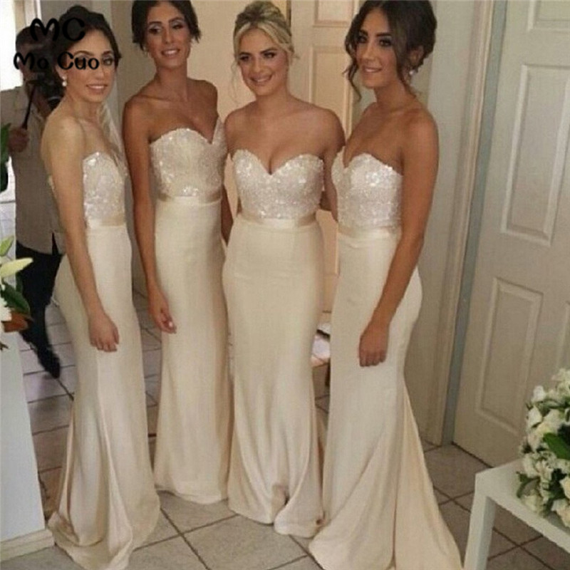 2019 Elegant Sweet Heart Sexy Mermaid Wedding Party   Dresses   Long Wedding Party   Dress   Chiffon Formal Women   Bridesmaid     Dresses