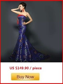 Tube top trailing royal blue fishtail cheongsam wedding dresses brocade long traditional chinese cheongsam wedding dresses (4)