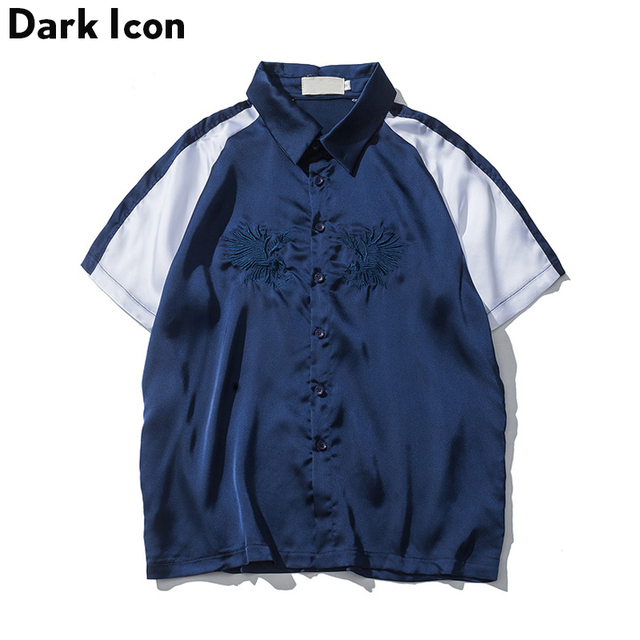 586b9146dedc Embroidery Satin Material Turn-down Collar Mens Shirts Short Sleeve 2017  Summer Fashion Design Off
