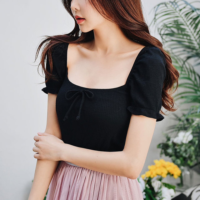 Dabuwawa Summer New Sexy Bow T-Shirts for Girls Women 2019 Black Short Square Collar Puff Sleeve Vintage Top Tees DN1BTS013
