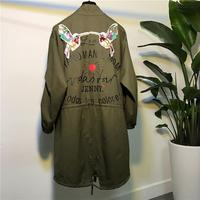 Trench Coat Cotton For Women Burderry Rushed 2017 New Spring Loose Bird Embroidery Printed Long Windbreaker