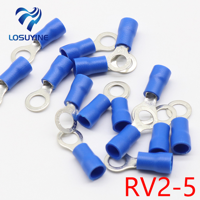 Insulated Wire Connectors | Rv2 5 Blue Ring Insulated Wire Connector Electrical Crimp Terminal