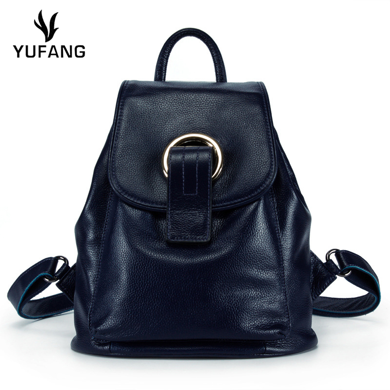 YUFANG Women Backpack Genuine Leather Female Daypack Daily Real Cowskin Shoulder  Bag Ladies Candy Color Student da2a026192cd0