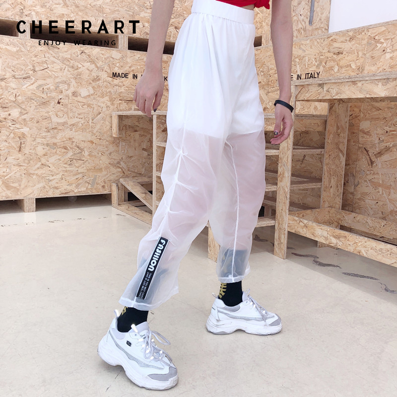 Cheerart Streetwear Transparent   Pants   Women Hip Hop Sweatpants Summer Ankle   Wide     Leg     Pants   White Loose Elastic Trousers