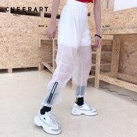 Cheerart Streetwear Transparent Pants Women Hip Hop Sweatpants Summer Ankle Wide Leg Pants White Loose Elastic Trousers