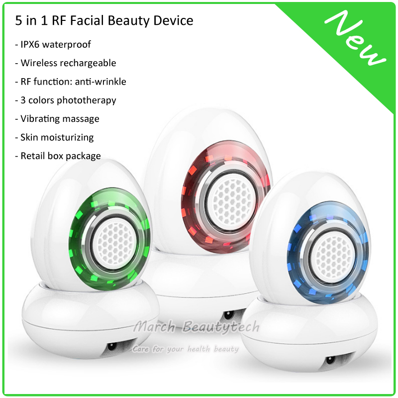 RF Wrinkle Removal Beauty Machine RF Thermage Skin Care Ultrosonic 3 Colors LED Light Photon Vibrating Replenishing Whitening anti acne pigment removal photon led light therapy facial beauty salon skin care treatment massager machine