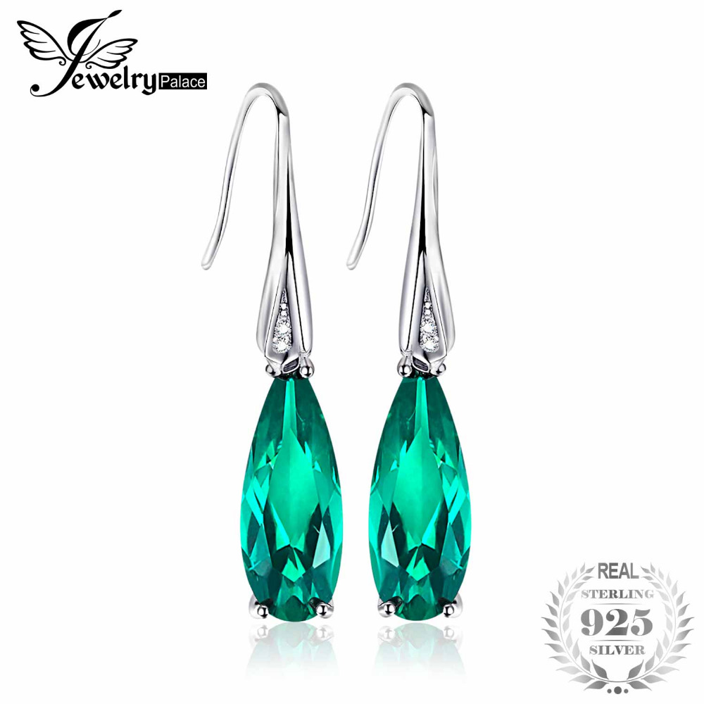 JewelryPalace Water Drop 4.1ct Created Emerald Drop Dangle Earrings 925 Sterling Silver Earring for Women Fashion pair of chic rhinestoned water drop earrings for women
