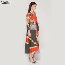 Vadim women elegant patchwork print maxi dress bow tie sashes long sleeve pleated female office wear long dresses vestidos QA483
