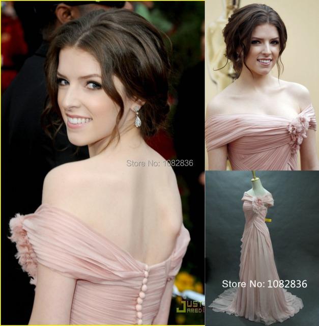 Preço no atacado Real Pictures Oscar Tapete Vermelho Vestido de Noite de Moda Clássica Off Frente Ombro Rosa Chiffon Vestido Da Celebridade