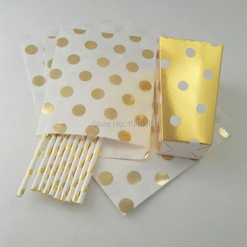 ipalmay Gold Party Theme Drinking Supplies Paper Straws,Birthday Wedding Gift Packing Bags,Party Favor Foil Gold Popcorn Boxes