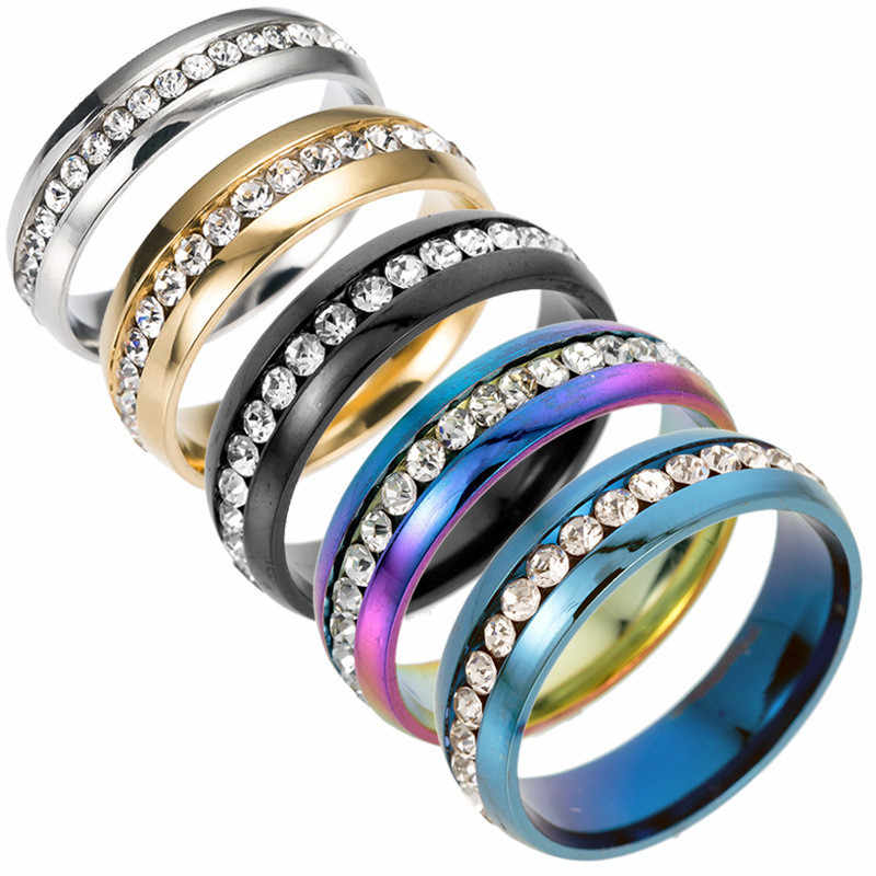 High Quality No discoloration Crystal Rainbow Rings For Women Men Silver Gold Wedding Engagement Couple Rings Jewelry Wholesale